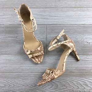 Ann Taylor Heels Strappy Textured Printed Snake